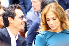 Marc Anthony and Jennifer Lopez. Marc and Jennifer are at the Walk of Fame ceremony for Simon Fuller Stock Photos