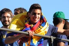 Marc Bartra Aregall, jeune joueur espagnol d'équipe de football de F.C Barcelona, célèbre le consecution de titre Photo libre de droits