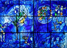Marc Chagall Stained Glass, Chicago Institute of Art. Marc Chagall backlit stained glass artwork, Chicago Institute of Art Museum, Chicago Illinois, USA royalty free stock images