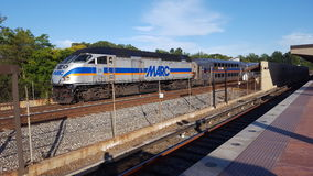 MARC commuter train. The Marc commuter train pulls into Rockville station for an evening run on August 19, 2016 Royalty Free Stock Photos