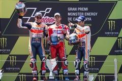 Marc Marquez, Andrea Dovizioso και Dani Pedrosa Ενεργειακά Grand Prix τεράτων της Καταλωνίας Στοκ Εικόνα