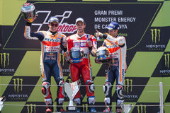 Marc Marquez, Andrea Dovizioso e Dani Pedrosa Energia Prix grande do monstro de Catalonia Imagem de Stock