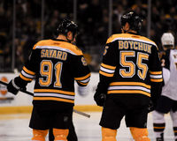Marc Savard and Johnny Boychuk. Stock Image