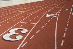 Marcações na pista de atletismo Foto de Stock