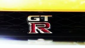 Marca alaranjada gtr de Nissan fotos de stock
