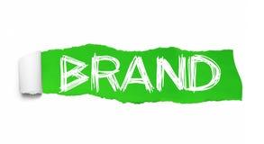 marca Collage di parola che è publicato dietro la carta lacerata verde royalty illustrazione gratis