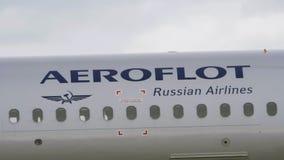 Marca commerciale di Aeroflot degli aerei Trasportatore di bandiera russo stock footage
