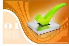 Marca correcta en el fondo atractivo, concepto del voto Fotos de archivo libres de regalías
