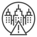 Marca da atenção e linha ícone da paisagem da cidade Ilustração do vetor do sinal de aviso e dos arranha-céus isolada no branco ilustração stock