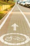 Marca da bicicleta no trajeto da bicicleta Imagem de Stock Royalty Free