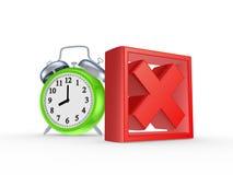 Marca da cruz vermelha e relógio verde. Imagens de Stock Royalty Free