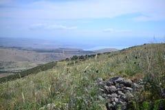 A marca da fuga do gospel, caminhando através do campo de Galilee em Israel, fuga de seguimento de Jesus na mola fotografia de stock