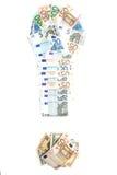 Marca de exclamação de cédulas do Euro Imagem de Stock Royalty Free