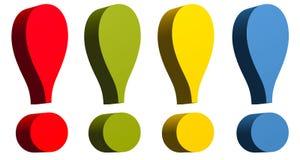 Marca de exclamação no colo amarelo e azul verde vermelho imagem de stock royalty free