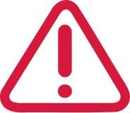 Marca de exclamação no sinal de aviso vermelho ilustração stock