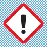 Marca de exclamação, símbolo de advertência do perigo quadrado, ícone do vetor ilustração stock
