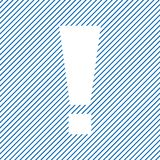 Marca de exclamação Sinal do aviso ou da atenção no fundo listrado azul Vetor ilustração do vetor