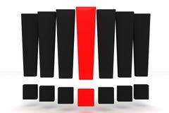 Marca de exclamação vermelha e preta Fotografia de Stock