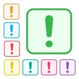 Marca de exclama??o Sinal do aviso ou da aten??o Ícones adicionais das versões do ícone verde e do grupo colorido Vetor ilustração stock