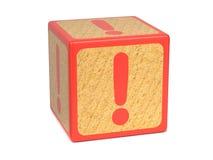 Marca de exclamación - bloque del alfabeto de los niños. Fotos de archivo