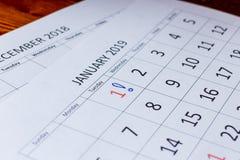 Marca de exclamación en el primer día en enero fotos de archivo libres de regalías