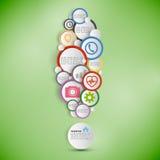 Marca de exclamación Infographic con los círculos coloreados ilustración del vector