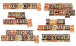 Marca de fábrica, comercialización, el copywriting y diseño gráfico foto de archivo libre de regalías