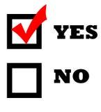 Marca de verificação na caixa do yes Fotos de Stock