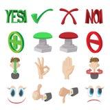 Marca de verificação sim e nenhuns ícones ajustados Imagem de Stock