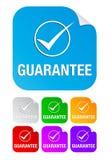 Marca de verificación de la garantía, etiquetas engomadas cuadradas Fotos de archivo