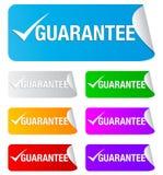 Marca de verificación de la garantía, etiquetas engomadas rectangulares Foto de archivo libre de regalías