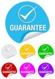 Marca de verificación de la garantía, etiquetas engomadas redondas Fotografía de archivo