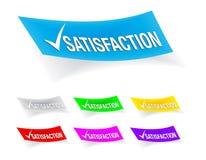 Marca de verificación de la satisfacción, etiquetas engomadas Imagenes de archivo
