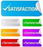 Marca de verificación de la satisfacción, etiquetas engomadas rectangulares Fotos de archivo libres de regalías