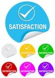 Marca de verificación de la satisfacción, etiquetas engomadas redondas Fotos de archivo