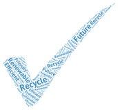 Marca de verificación ecológica simbólica creaded por palabras: recicle, futuro Imágenes de archivo libres de regalías