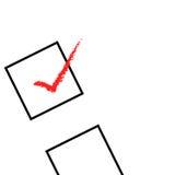 Marca de verificación roja Imagen de archivo libre de regalías