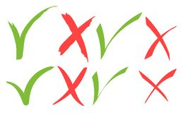 Marca de verificaci?n verde exhausta de la mano e iconos de la Cruz Roja ilustración del vector