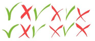 Marca de verificaci?n verde exhausta de la mano e iconos de la Cruz Roja stock de ilustración