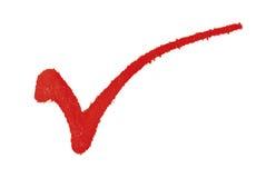 Marca de verificación roja Fotografía de archivo