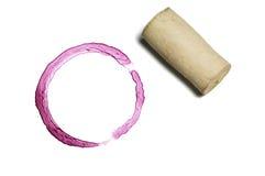 Marca del corcho y del vino rojo Fotografía de archivo