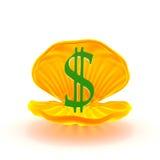 marca del dólar dentro del mejillón Foto de archivo
