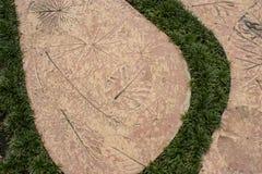 Marca del hormigón en el hierba Imágenes de archivo libres de regalías