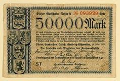 Marca do alemão 50000 da antiguidade 1923 Imagem de Stock