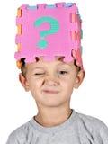 Marca do menino e da pergunta Foto de Stock Royalty Free