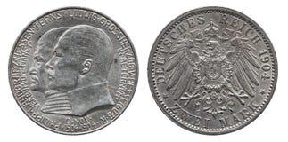 Marca dois 1904 alemão da moeda de prata 2 de Alemanha Hesse imagens de stock