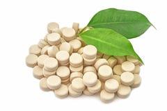 Marca en la tableta bio natural de la medicina imagenes de archivo