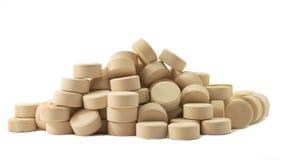 Marca en la tableta la medicina de las píldoras Foto de archivo