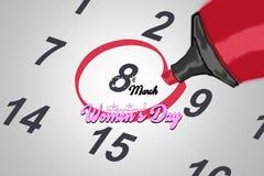 Marca la fecha número 8 fecha marcada en calendario Día del `s de las mujeres Fotografía de archivo