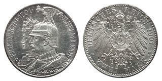Marca prusiana dos 1901 de la moneda de plata 2 de Prusia alemana de Alemania, 200o aniversario de la dinastía foto de archivo